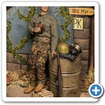 The release comes with a nice assortment of gear from mid-late war (wood ammo box is included, oil drum is not).