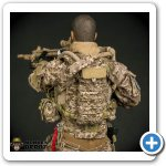 The LBT hydration carrier is easily integrated with the chest rig.